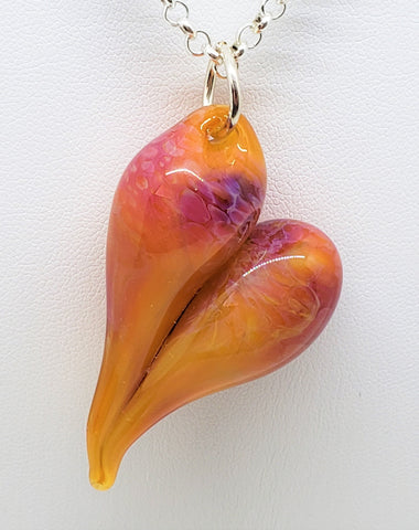 Valentine Art Glass Pendant, Boro glass, Amber Purple, Pink Heart ,#3058, artisan, blown glass