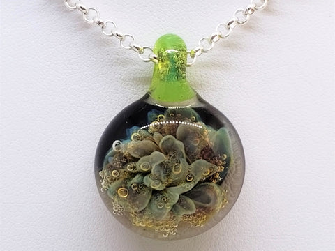 Art Glass Pendant, Boro glass, Coral Reef, #3059 artisan, blown,