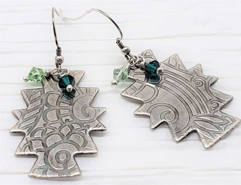 Southwest Sterling Silver Pattern Earrings