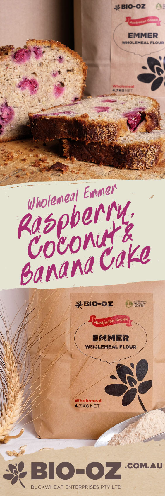 Bio-Oz Raspberry, Coconut and Banana Cake