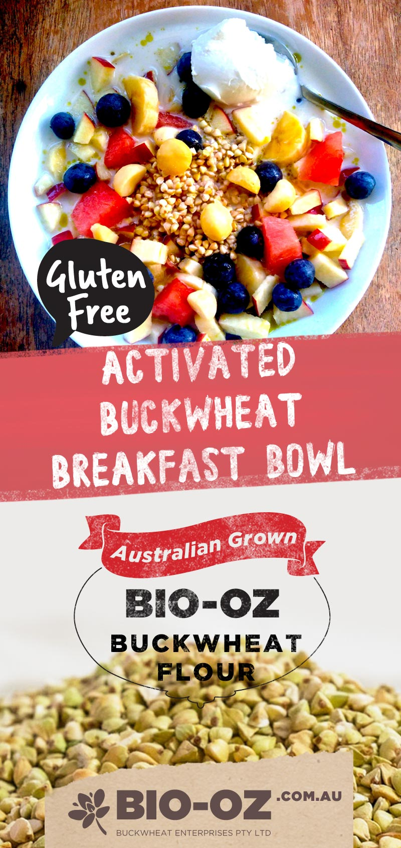 Activated Buckwheat Breakfast Bowl With Bio-Oz Buckwheat Kernels