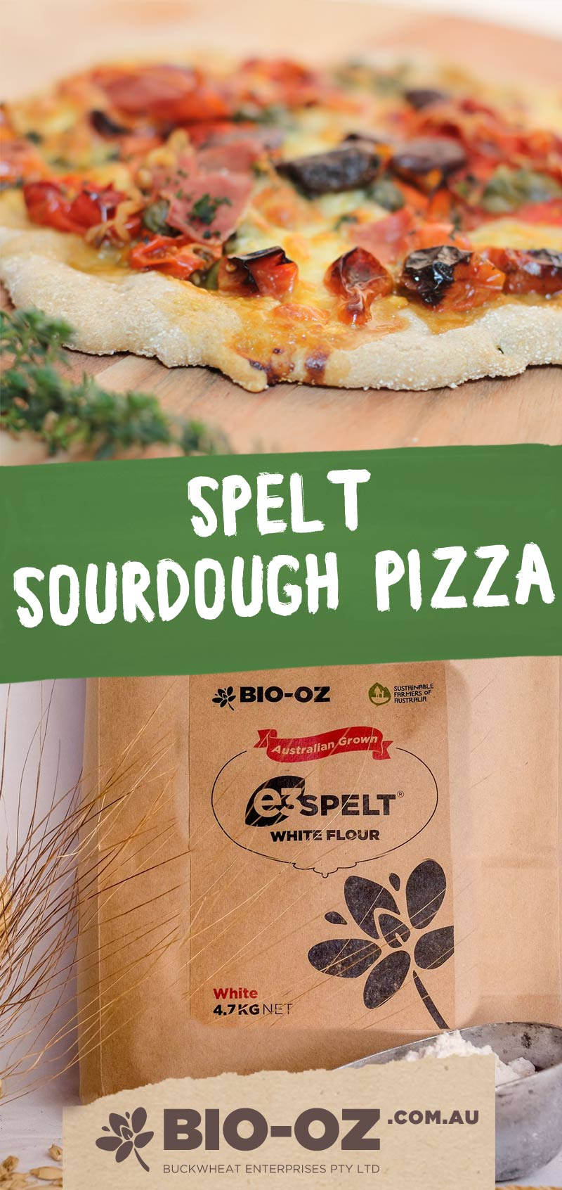 Bio-Oz Spelt Sourdough Pizza Recipe pin