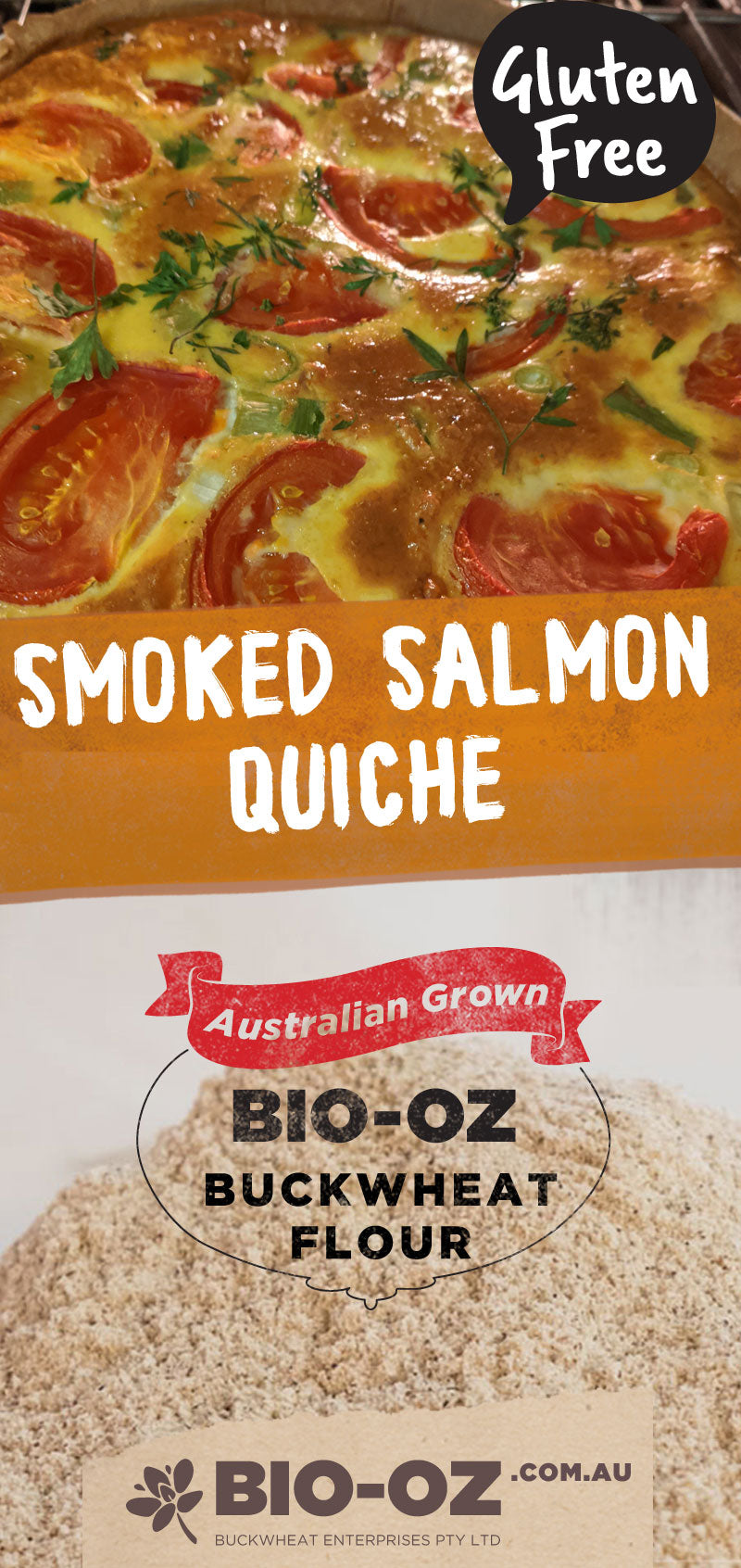 Smoked Salmon Quiche Made with Bio-Oz Buckwheat Flour