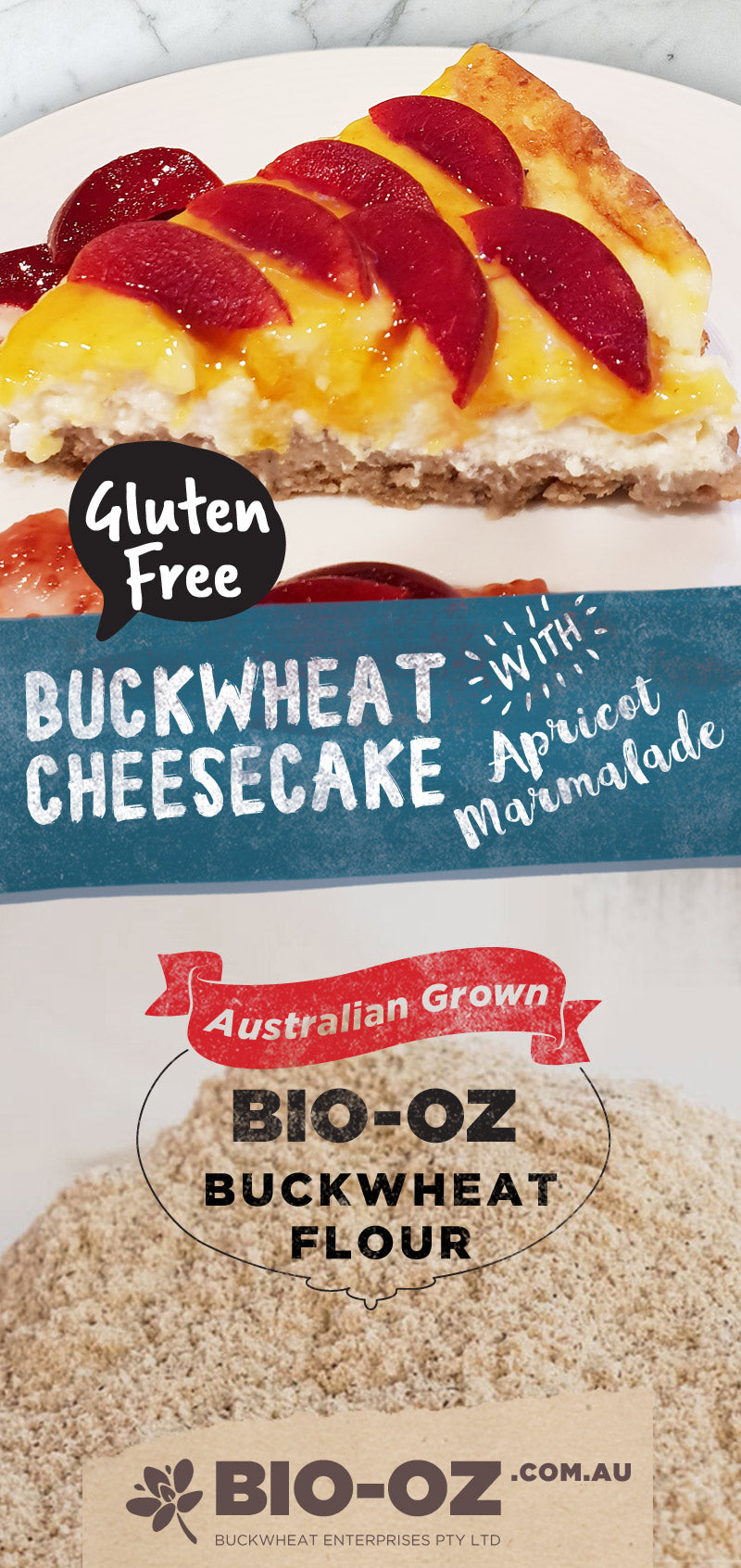Bio-Oz buckwheat cheesecake with apricot marmalade