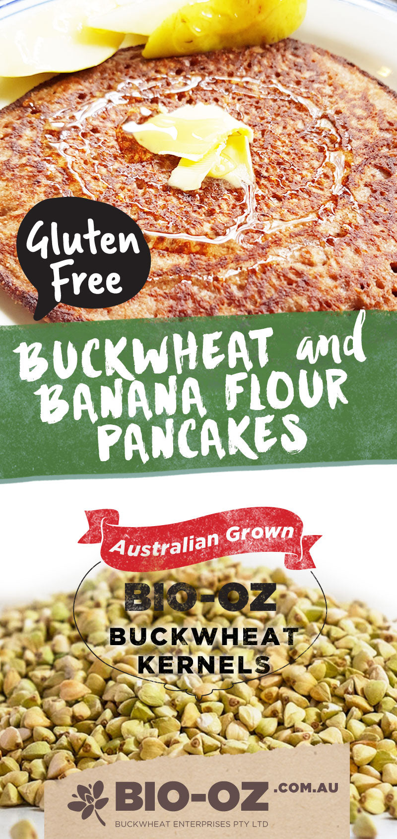 Bio-Oz Buckwheat and Banana Flour Pancakes