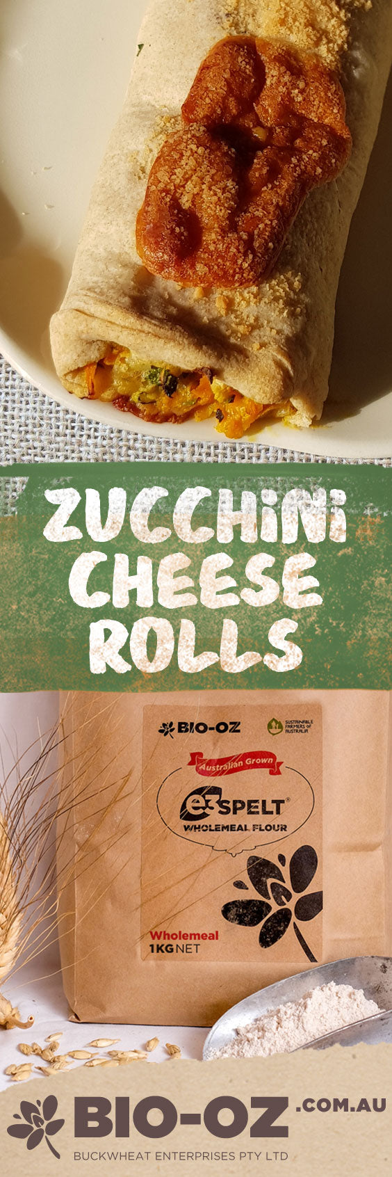 Zucchini Cheese Rolls with Wholemeal e3 Spelt