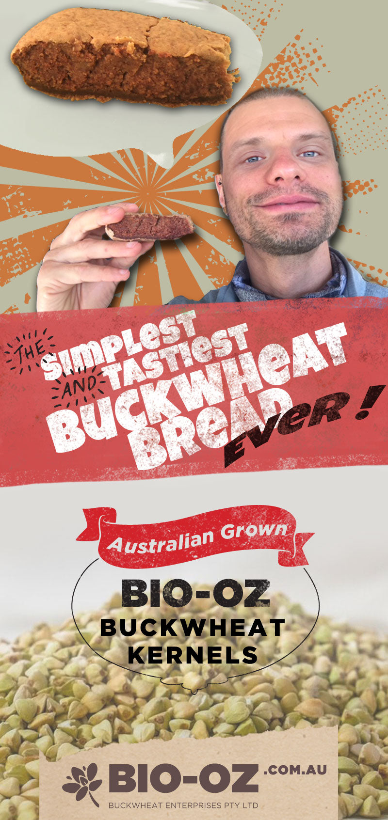 The Simplest and Tastiest Buckwheat Bread ever ! Made with BIO-OZ BUCKWHEAT KERNELS