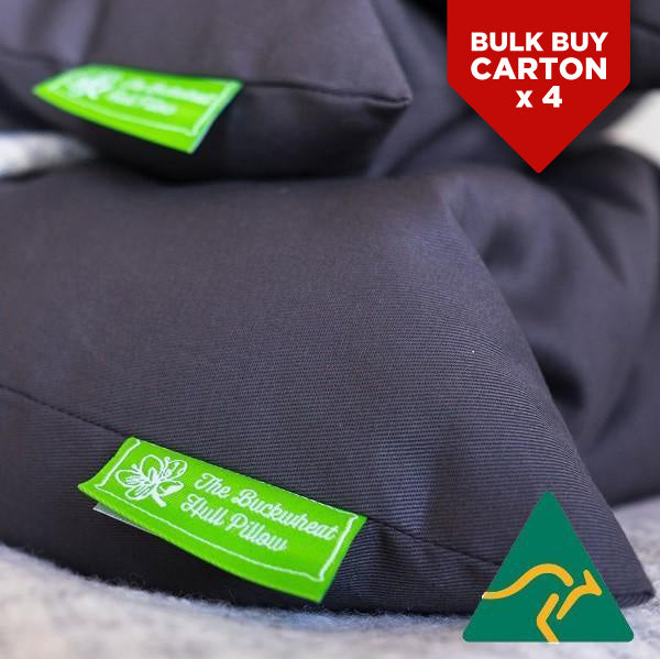 BULK BUY CARTON* Buckwheat Hull Pillow GREY STANDARD x 4