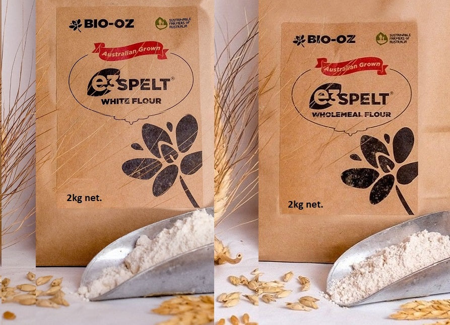 Bio-Oz e3 Spelt* Flour 2kg White & Wholemeal Twin Pack Australian grown
