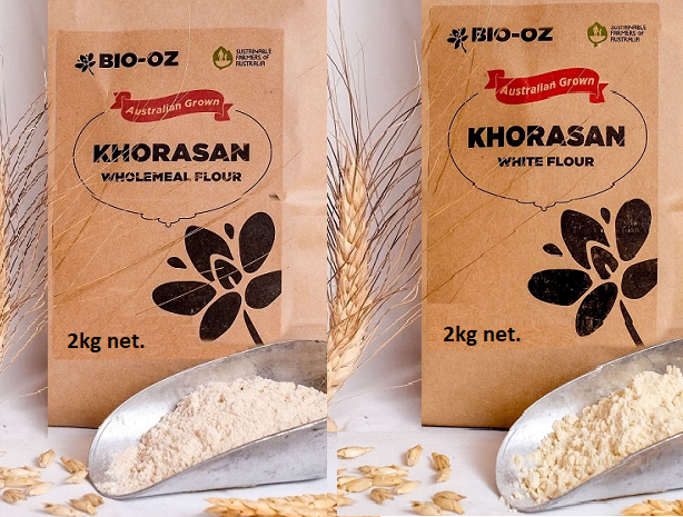 Bio-Oz Khorasan Flour 2kg White & Wholemeal Twin Pack Australian grown