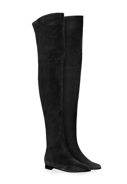 Over The Knee Boots Flat - Black