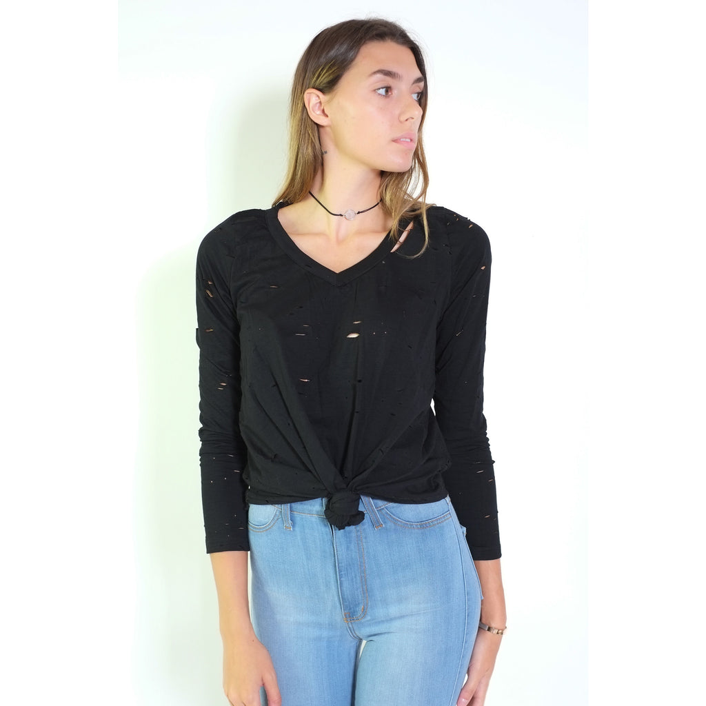Front Knot Top - Black - Shop Angel Dust