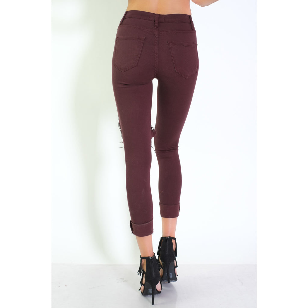 Jenny Destroyed Pants - Plum - Shop Angel Dust