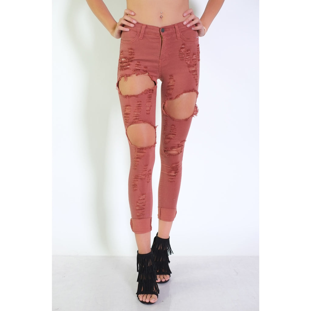 Jenny Destroyed Pants - Mauve - Shop Angel Dust
