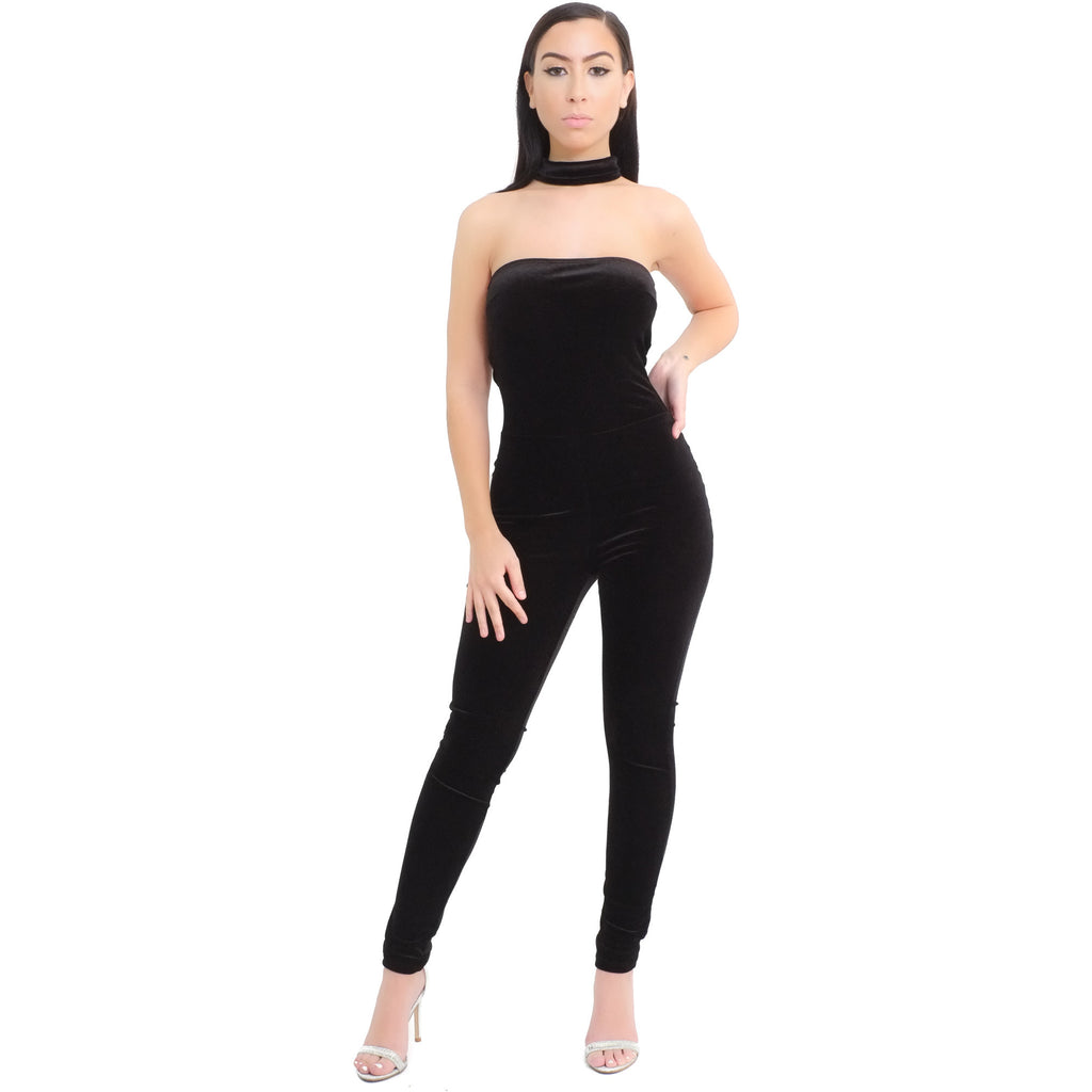 VELVET CHOCKER JUMPSUIT - BLACK - Shop Angel Dust