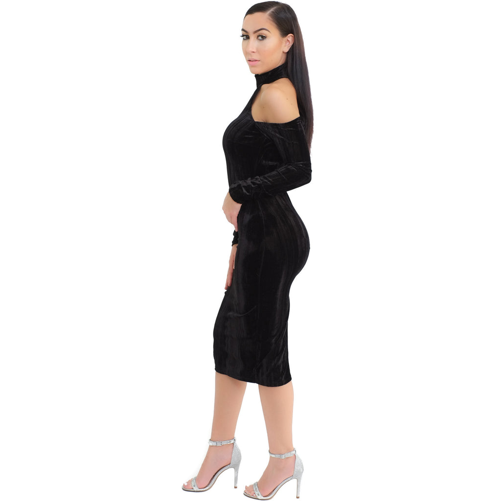 Cold Shoulder Dress - Black - Shop Angel Dust