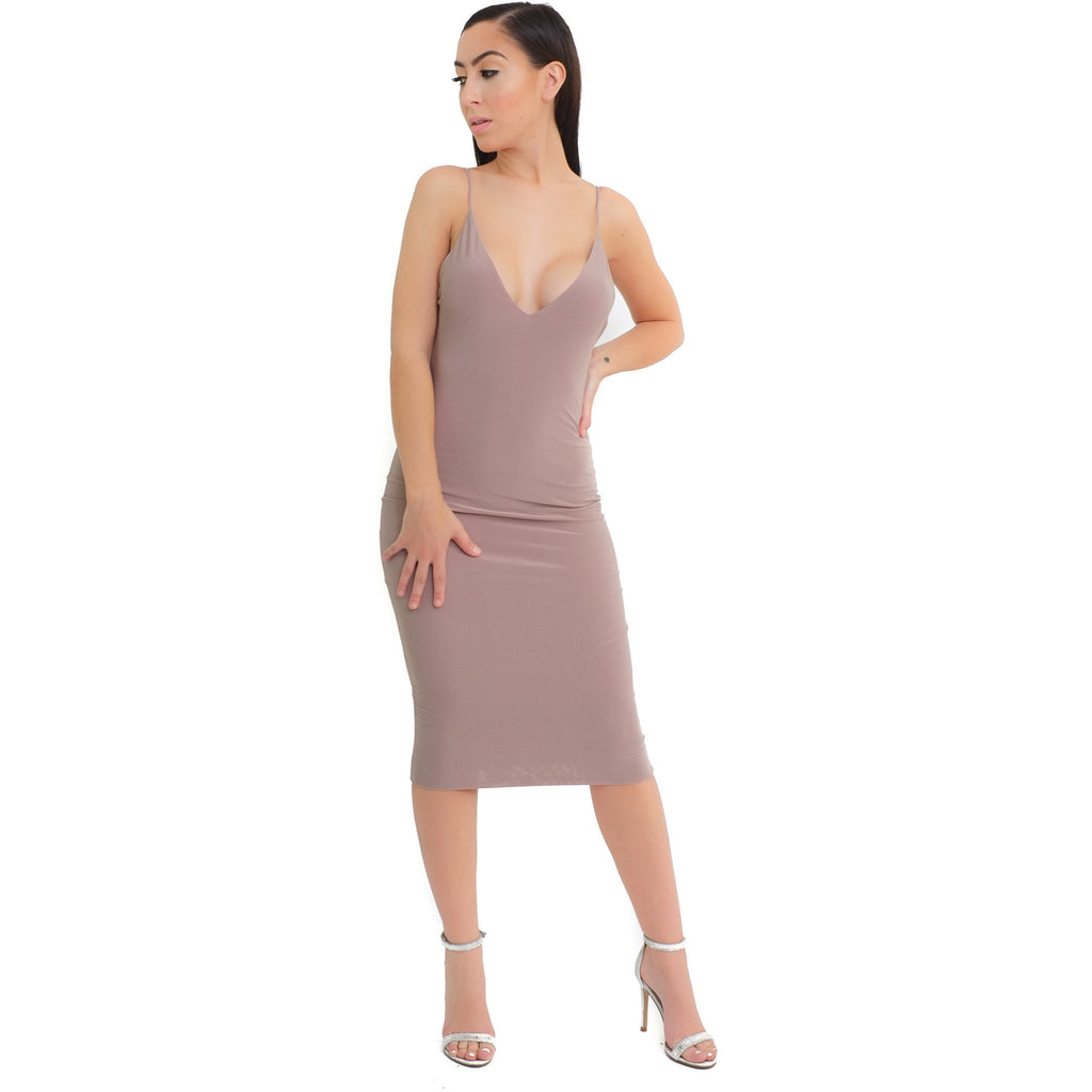 Kim V-neck Dress-Toffee - Shop Angel Dust