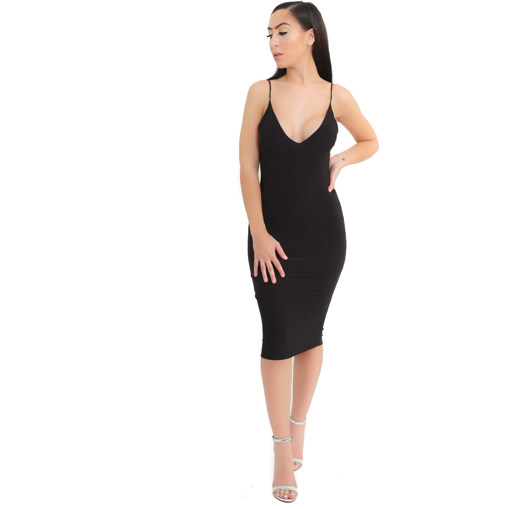 Kim V-neck Dress-Black - Shop Angel Dust