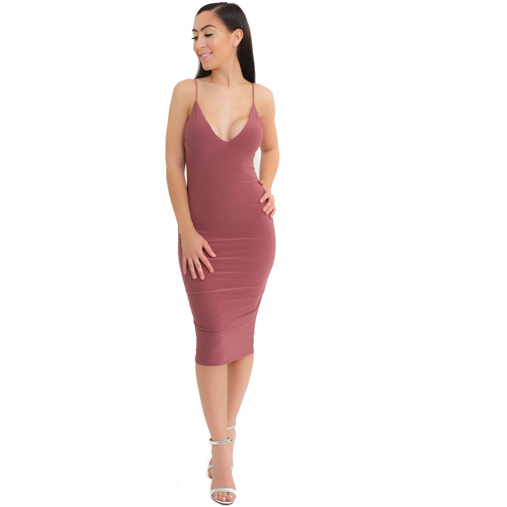 Kim V-neck Dress-Red Bean - Shop Angel Dust