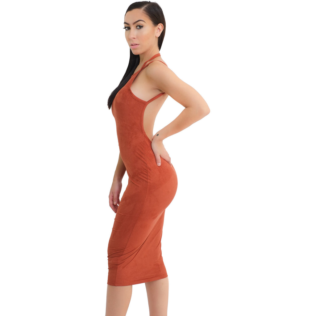 Mila Suede Dress - Rust - Shop Angel Dust