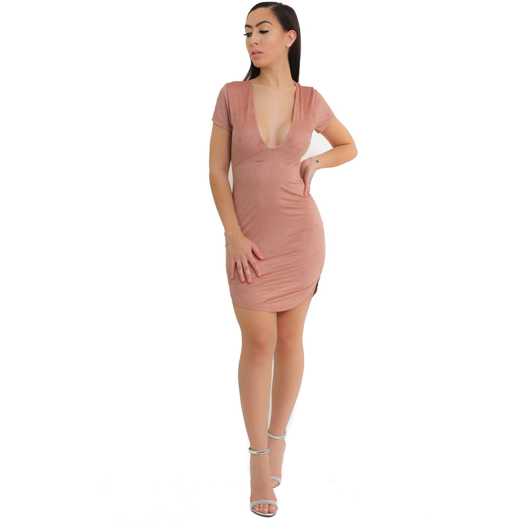V-neck Suede Dress - Mauve - Shop Angel Dust