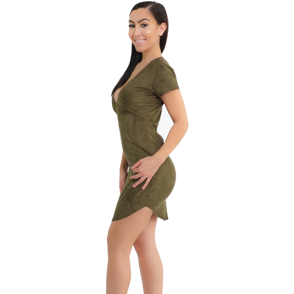 V-neck Suede Dress - Olive - Shop Angel Dust