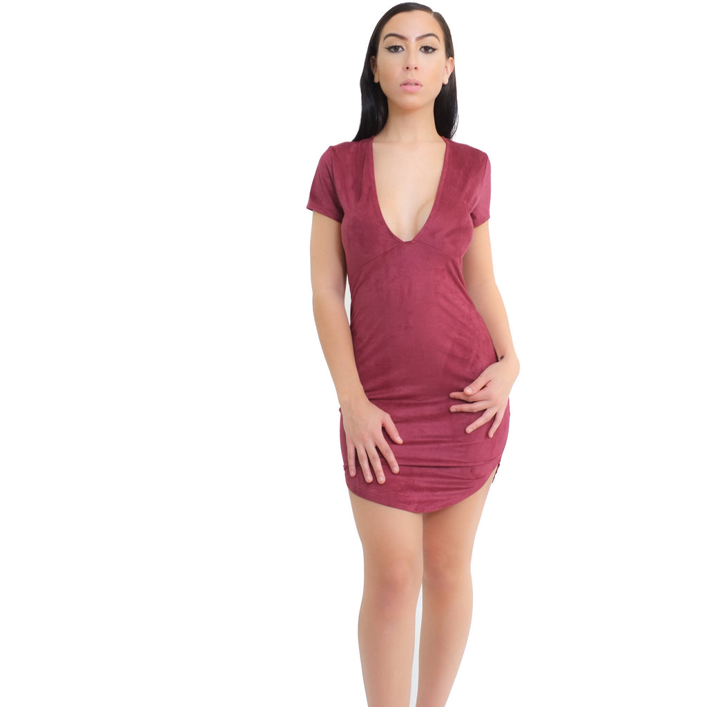 V-neck Suede Dress - Berry - Shop Angel Dust
