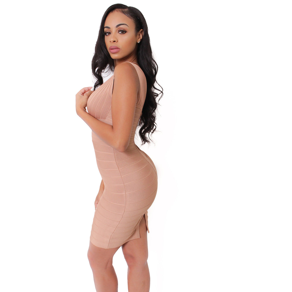 Elsa Bandage V Neck Dress - Spice - Shop Angel Dust