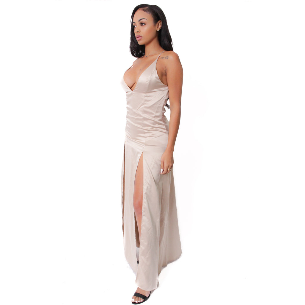 Amelia Satin Dress - Nude - Shop Angel Dust