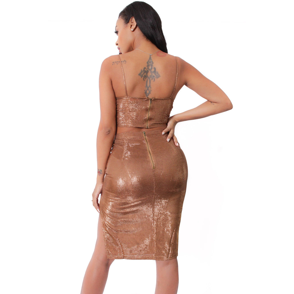 Sparkle Me Skirt Set - Bronze - Shop Angel Dust