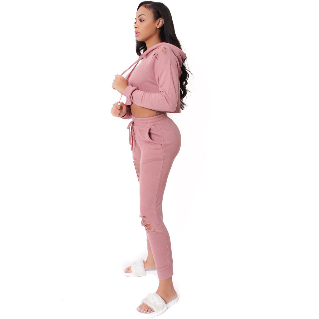 French Terry Destroyed Crop Top & Jogger Pants Set-Pink - Shop Angel Dust
