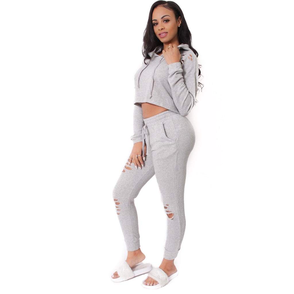 French Terry Destroyed Crop Top & Jogger Pants Set-Gray - Shop Angel Dust