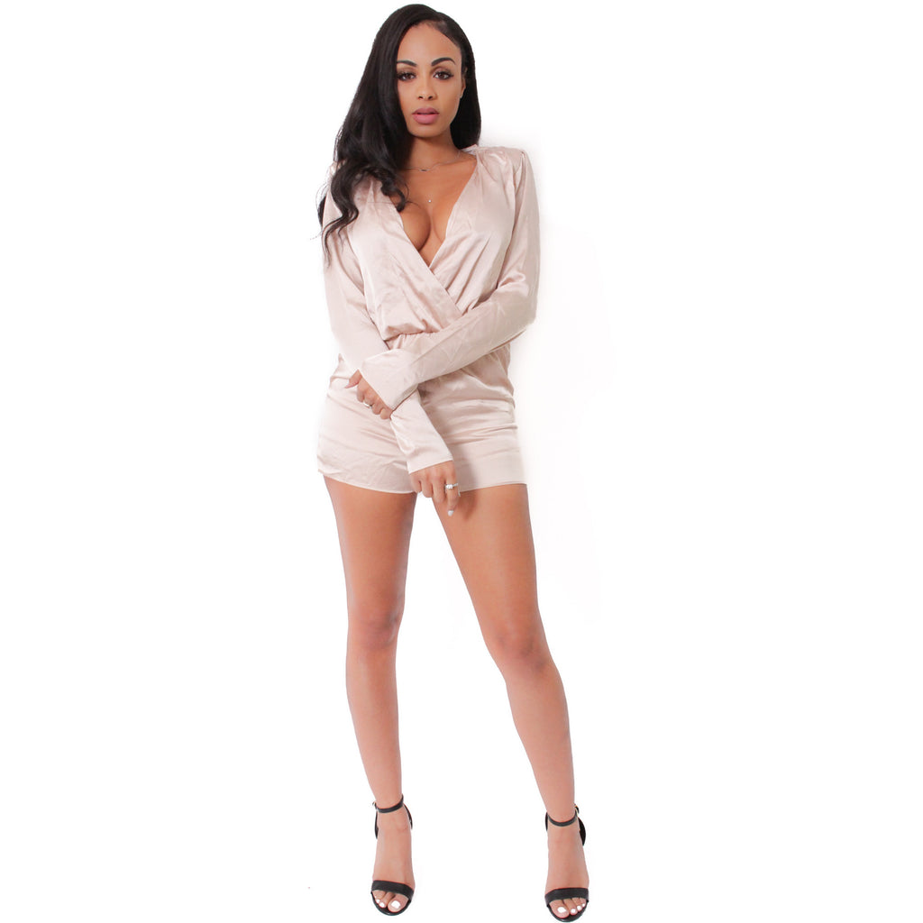 Satin Romper- Taupe - Shop Angel Dust