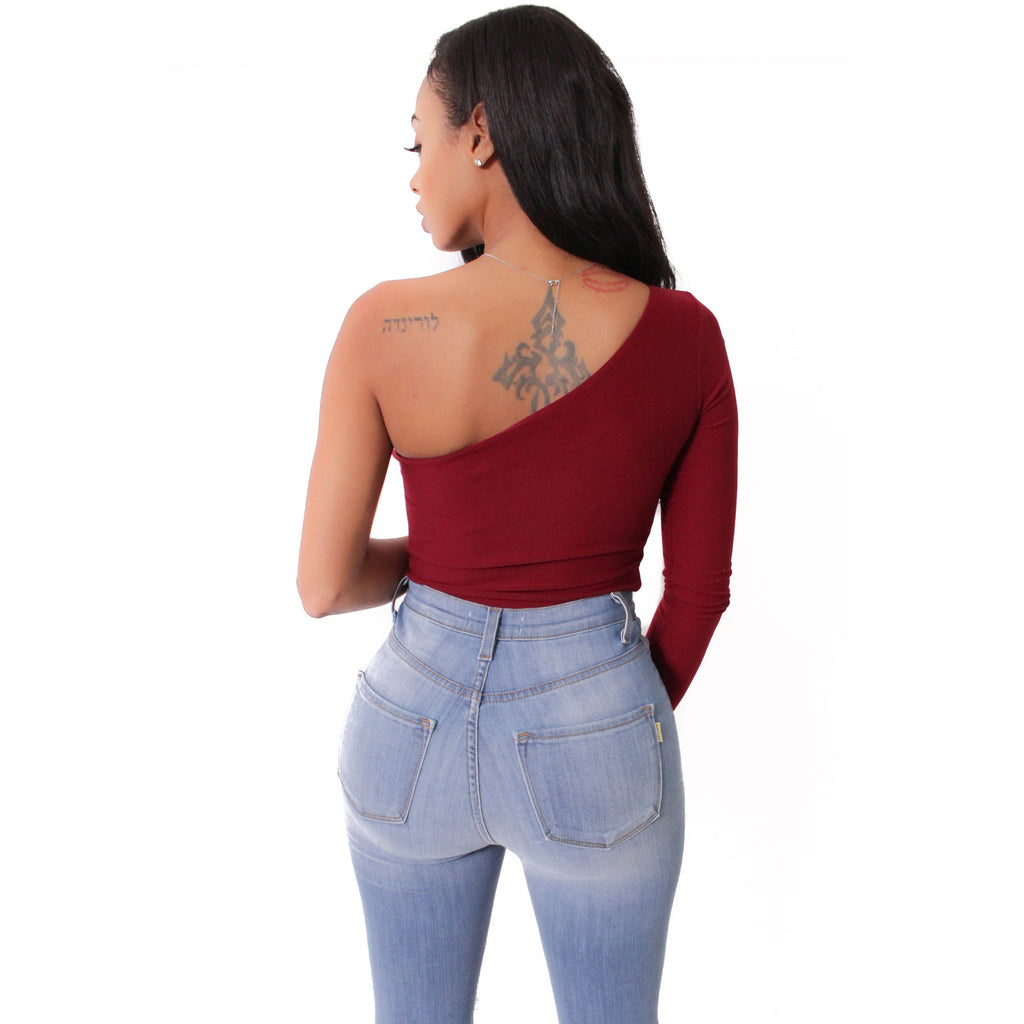 Single Sleeve Bodysuit- Burgundy - Shop Angel Dust