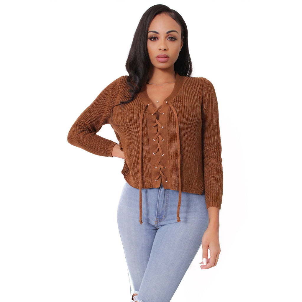 Lace Up Knit Sweater- Camel - Shop Angel Dust
