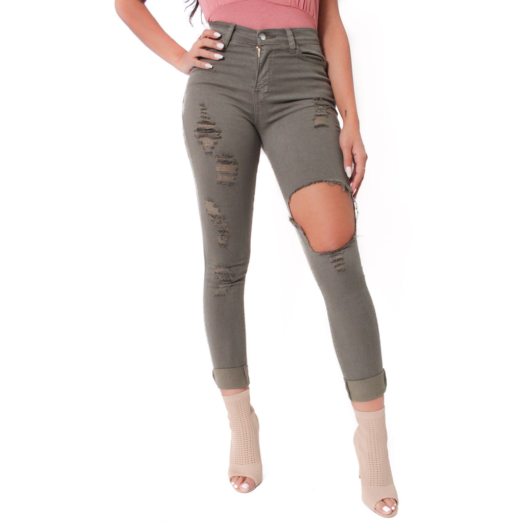 Jenny Destroyed Pants - Olive - Shop Angel Dust