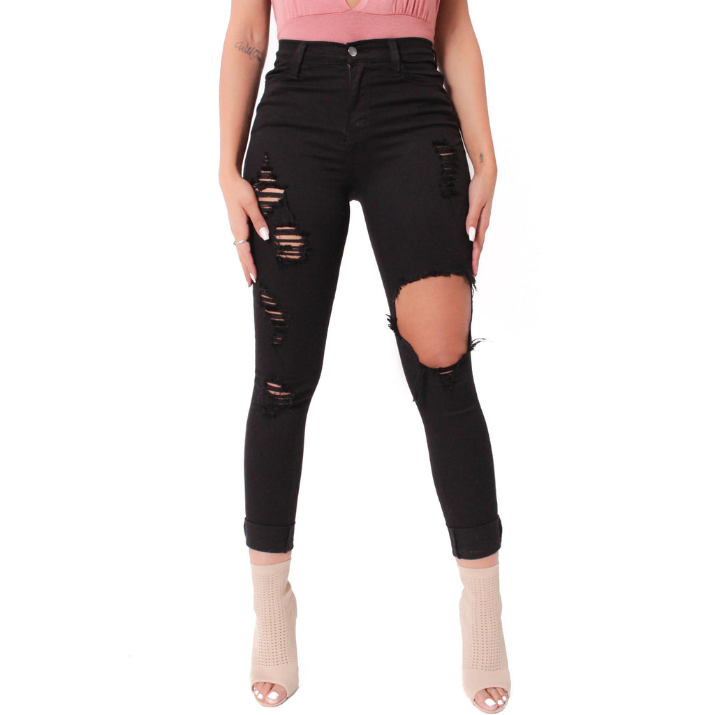 Jenny Destroyed Pants - Black - Shop Angel Dust