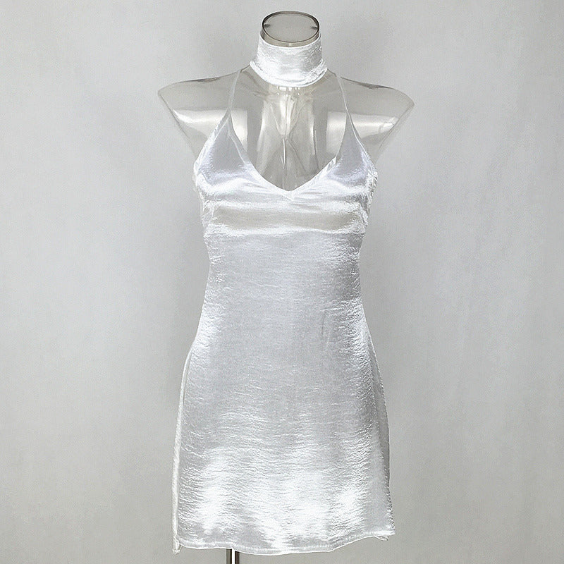 Satin Slip Dress with Choker