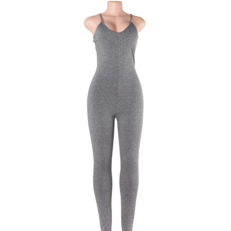 Basic V Neck Jumpsuit