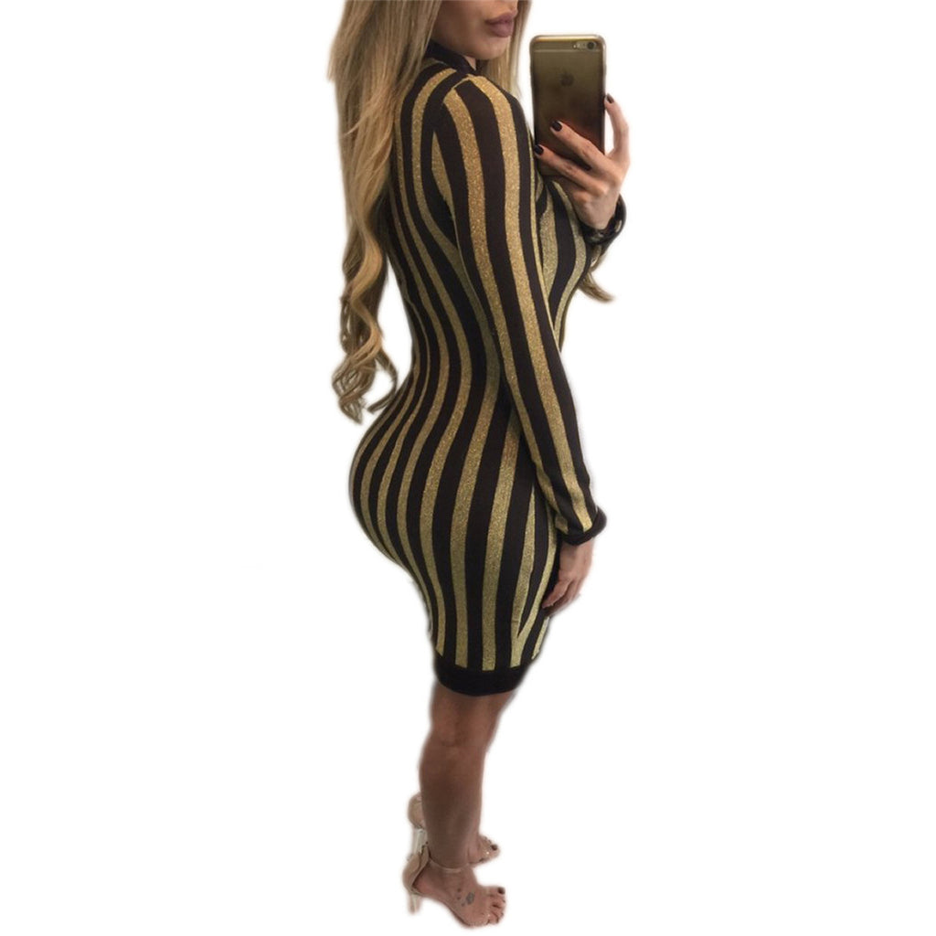 Gold Striped Sequin Dress