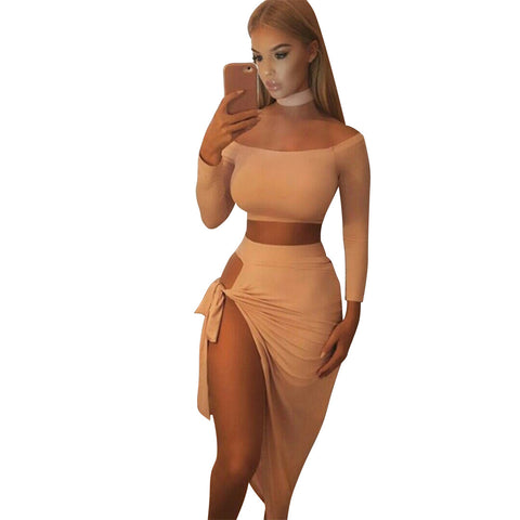 Two Piece Satin Dress
