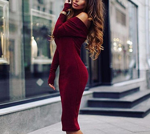 Kim V-neck Dress-Red Bean