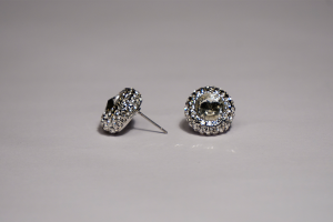 Crystal Rimmed Pierced Earrings