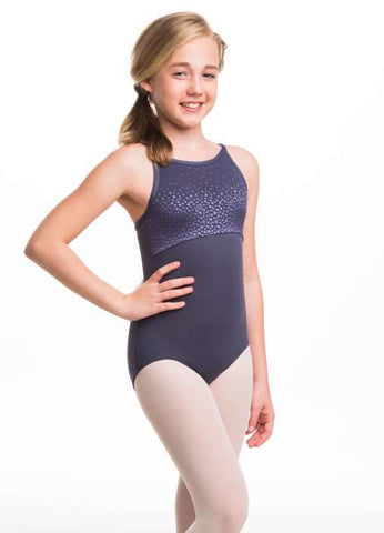 Ainsliewear Girls Sabrina Leotard with Border Dots