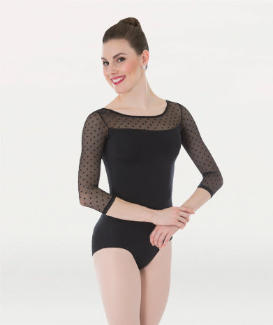 Body Wrappers Dotted 3/4 Sleeve Leotard Black
