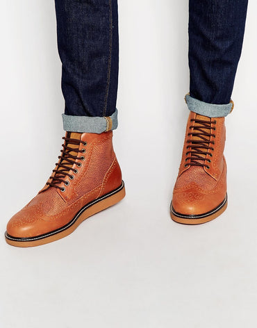 Fred Perry Men's Brown Northgate Leather Brogue Boots