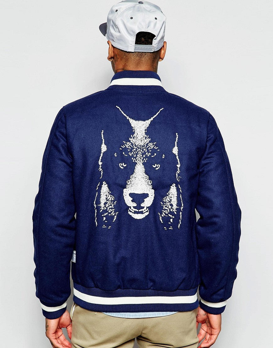 Supremebeing Varsity Jacket With Embroidered Back Print