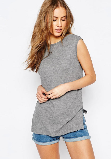 Longline Top With V Back And Split Sides
