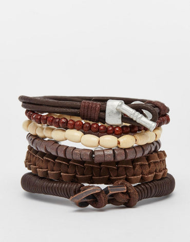 Leather Bracelet Pack In Brown