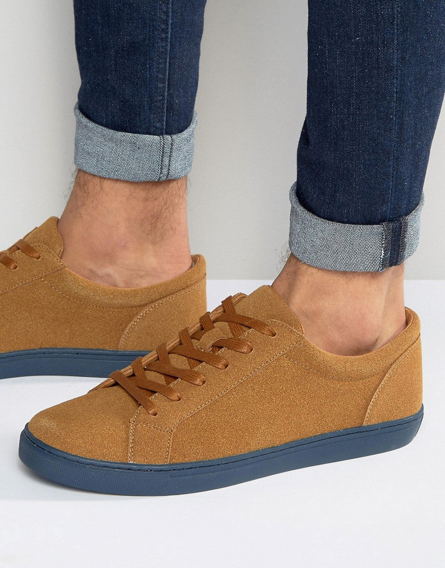 Lace Up Trainers in Tan Faux Suede